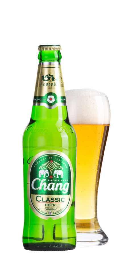 チャーンビールのボトルとグラス