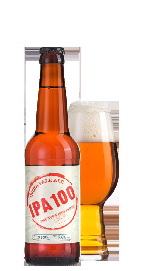 IPA100のボトルとグラス