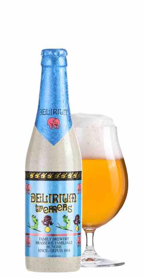 デリリウムビールのボトルとグラス