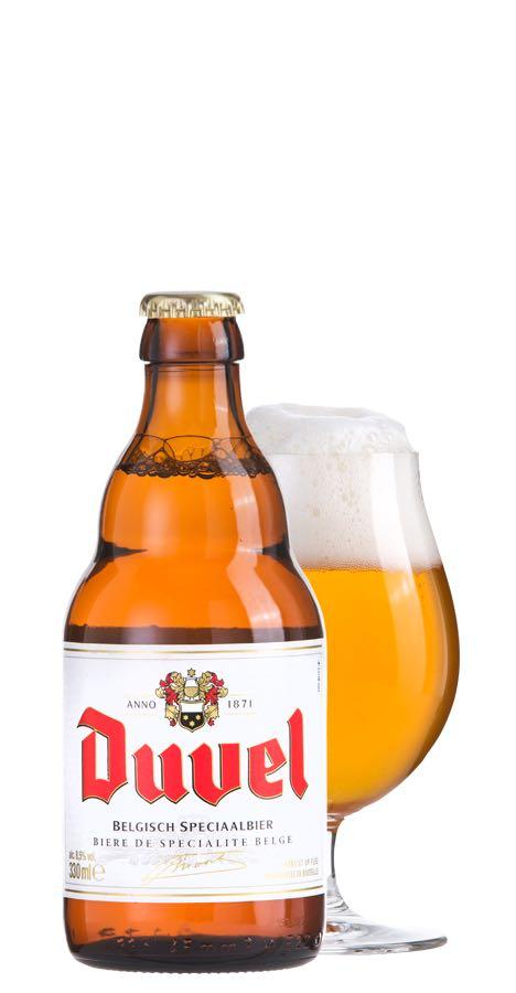 デュベルビールのボトルとグラス