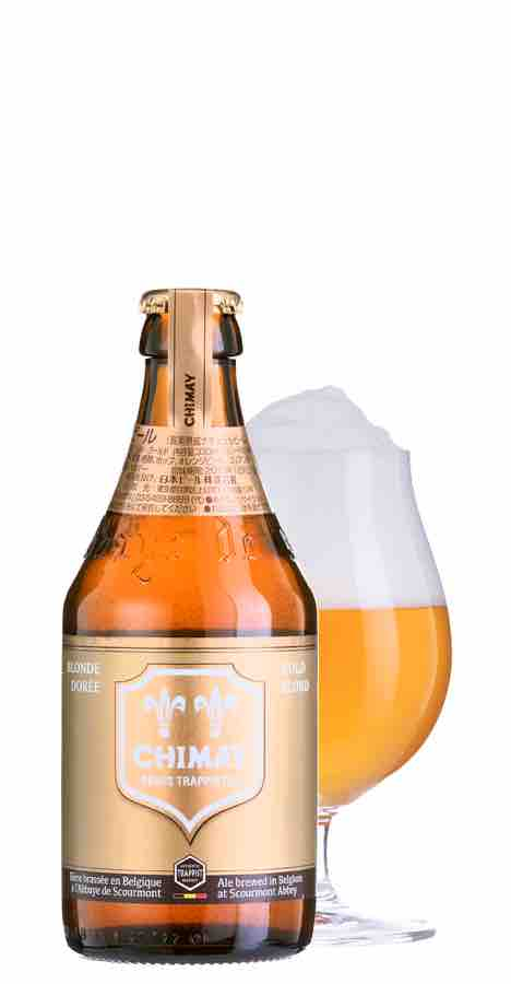 シメイビールのボトルとグラス